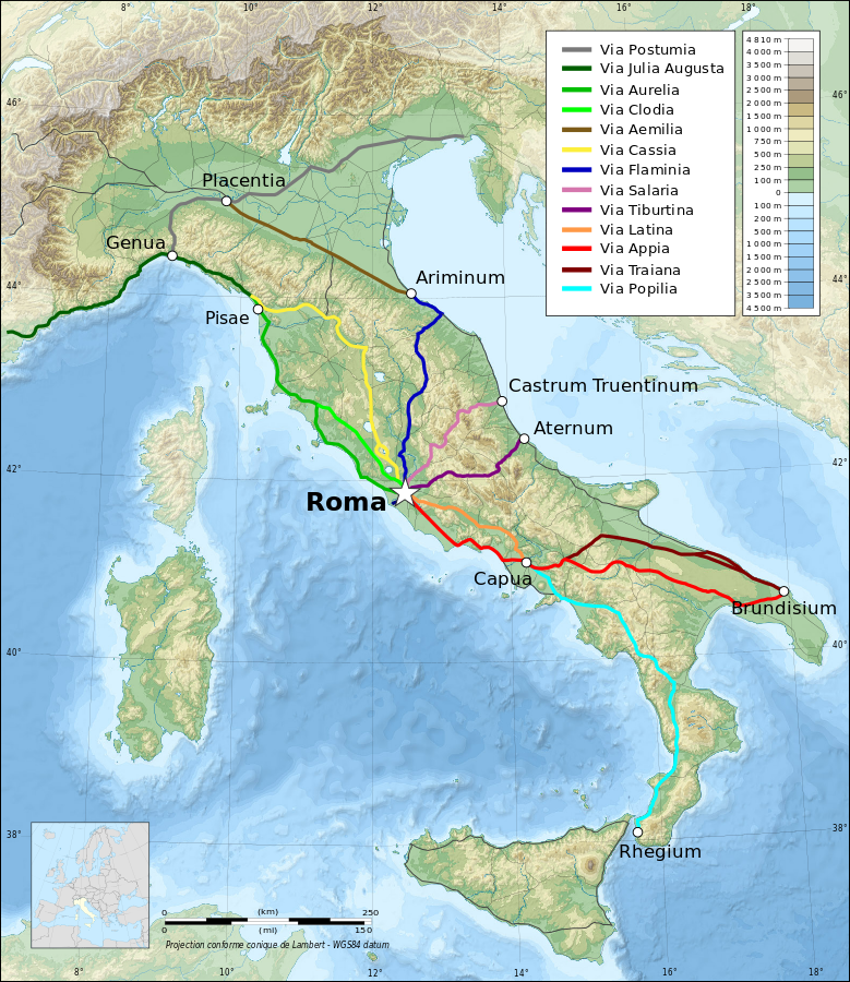 Italy topographic ma ancient Roman roads by Eric Gaba Agamemnus Flappiefh Based on a Topographic map from Eric Gaba and a map of ancient Roman roads from Agamemnus. Licensed under CC BY-SA 3.0 via Wikimedia Common