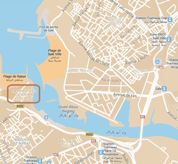 kazba al-udaja na mapie
