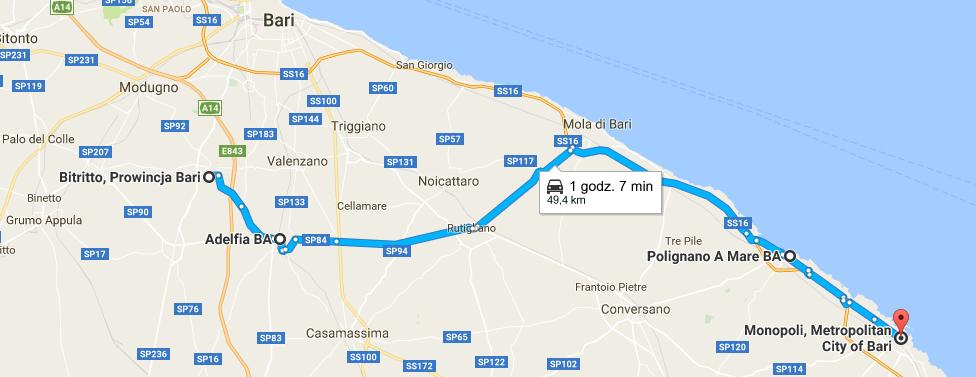 Apulia mapa - dzien 1