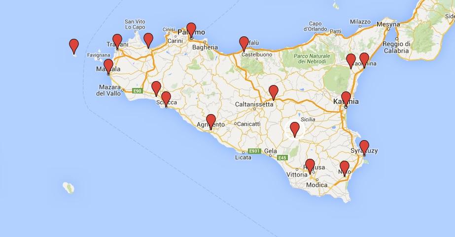 Mapa Sycylii Sycylia I Samochody