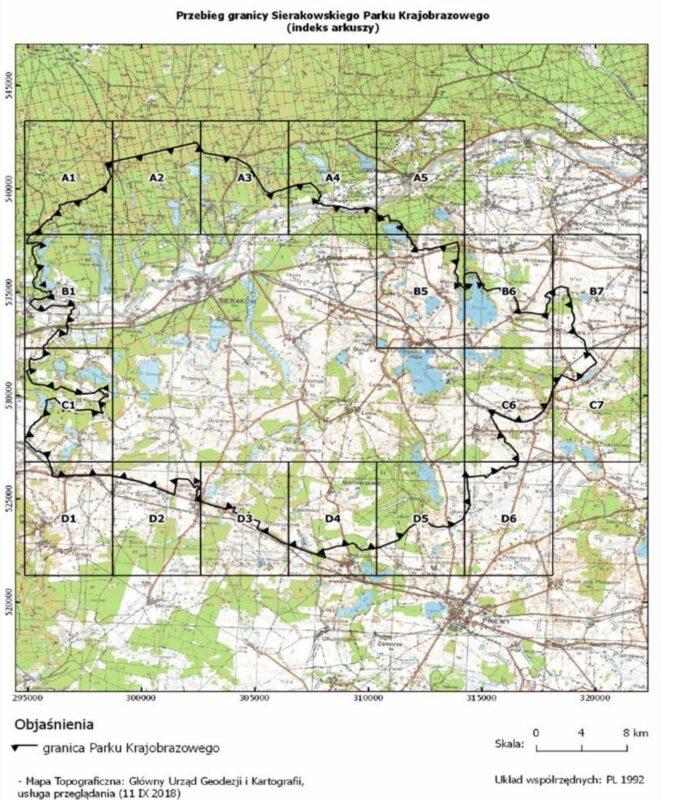 Sierakowski Park Krajobrazowy mapa